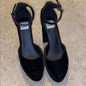 DV chunk black heel with ankle strap